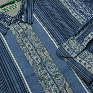Large CUBAVERA Blue Paisley/Striped Casual Shirt